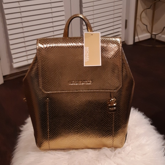 9881fdb82d2d Michael Kors Bags | Ladies Gold Genuine Leather Backpack | Poshmark